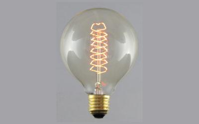 Globlampa 95mm Spiral Gold E27220-240V 25W