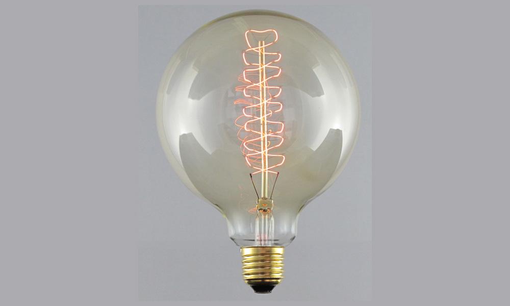 Globlampa 125mm Spiral Gold E27220-240V 25W